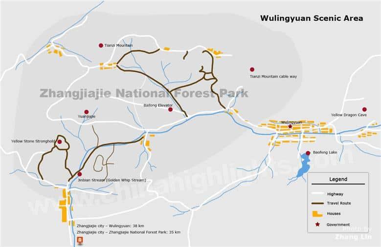 Zhangjiajie Map - Wulingyuan Area Map