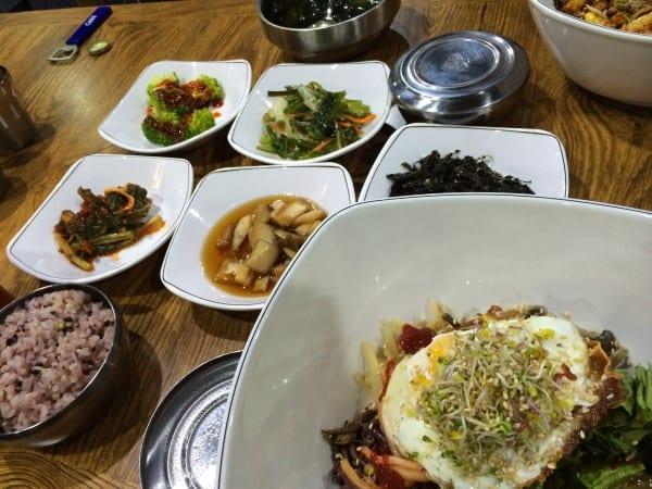 Korean Food Bimimbap and Side dishes