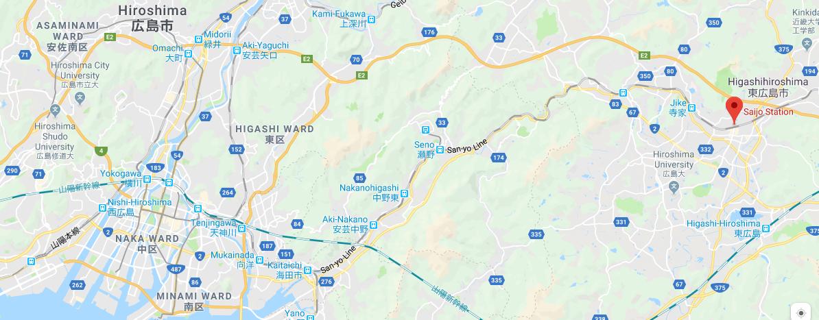 Saijo Japan Map
