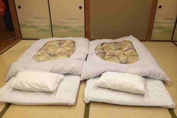 Japanese Futon bedding in Ryokan