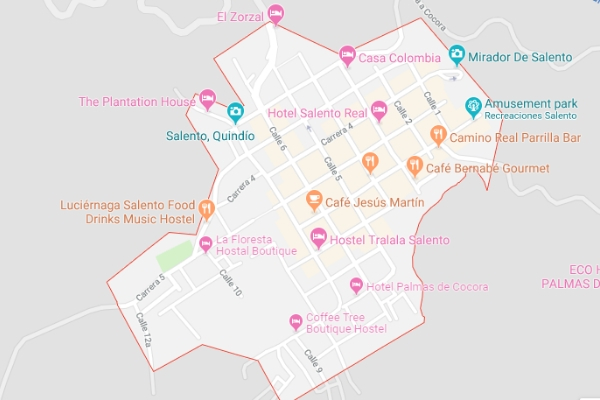 Map of Salento colombia