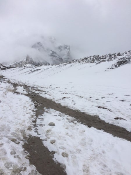 The trail from Gorakshep to Everest Base Camp