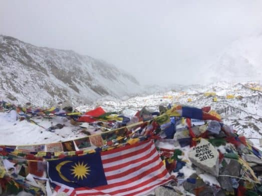 Cairn and Prayer Flags at Everest Base Camp