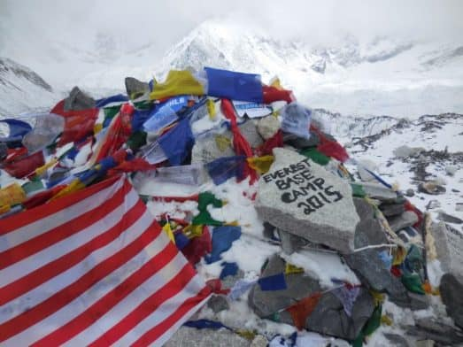 Everest Base Camp Cairn and Prayer Flags