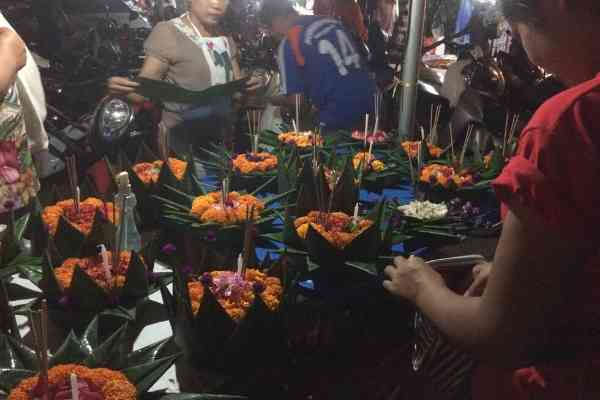 offerings at the light festival in Luang Prabang