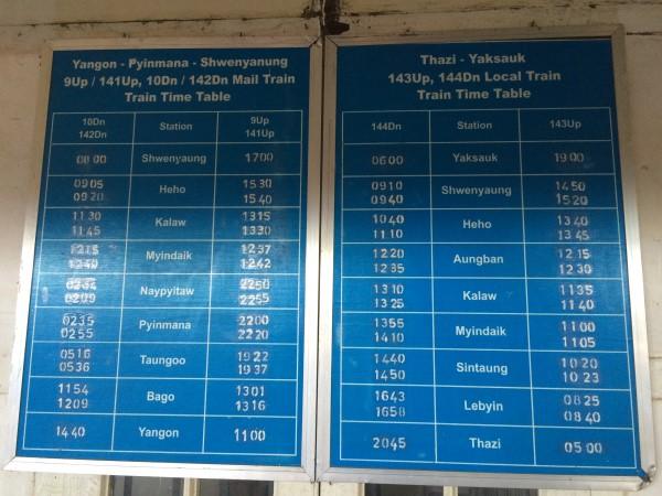 Slow Train to Thazi Timetable Shwe Nyaung