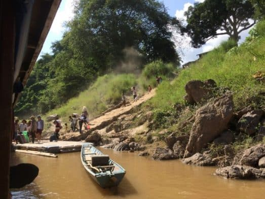Slow Boat Stops on Mekong River