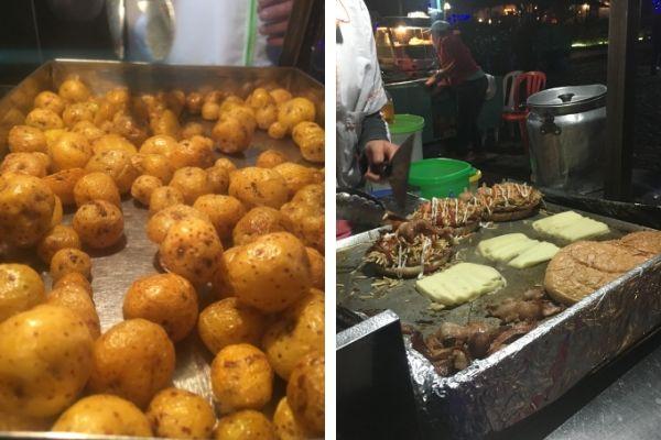 Food stalls in Jardins central square