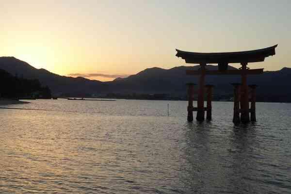 The Itsukushima Shrine at high tide on miyajima