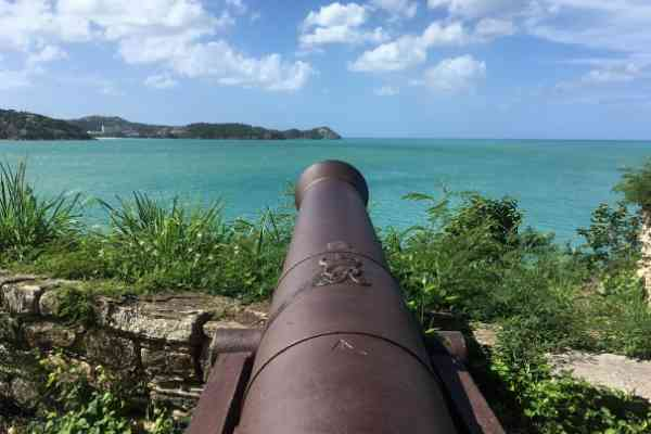 Fort James cannon pointing to Fort Barrington