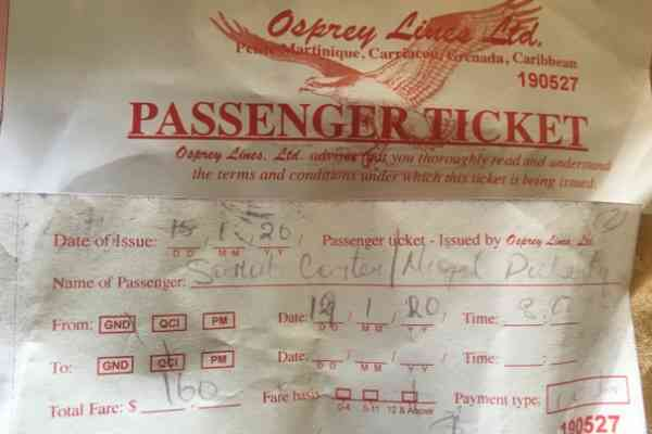 Ticket from Grenada to Carriacou Osprey Ferry
